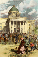 0008669 © Granger - Historical Picture ArchiveJEFFERSON DAVIS   (1808-1889). The inauguration of Davis as President of the Confederate States of America in Montgomery, Alabama, on February 18, 1861: colored engraving, 19th century.