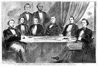 0040830 © Granger - Historical Picture ArchiveJEFFERSON DAVIS (1808-1889).   President of the Confederate States of America. President Davis and his Cabinet at Montgomery, Alabama. Wood engraving from an American newspaper of June 1861.