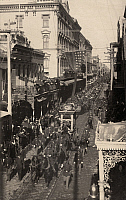 0163334 © Granger - Historical Picture ArchiveJEFFERSON DAVIS: FUNERAL.   The funeral procession for former Confederate president Jeffeson Davis making its way through the French Quarter in New Orleans, Louisiana, 11 December 1889.
