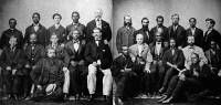 0259363 © Granger - Historical Picture ArchiveJEFFERSON DAVIS TRIAL.   Prospective jurors in the trial against Jefferson Davis, President of the Confederate States. It was the first desegregated venire ever summoned in the United States. Photograph, 1868.