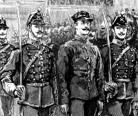 0013482 © Granger - Historical Picture ArchiveALFRED DREYFUS (1859-1935).   French army officer. Dreyfus, stripped of his rank, being paraded in front of the troops after his first trial for treason in 1894: contemporary wood engraving.