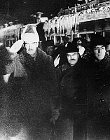 0170617 © Granger - Historical Picture ArchiveANTHONY EDEN (1897-1977).   British politician. Eden (left), while Secretary of State for Foreign Affairs, with Russian commissioner of foreign affairs Vyacheslav M. Molotov (center) and British ambassador Sir Stafford Cripps. Photographed at a railroad station in Moscow, Russia, 1942.