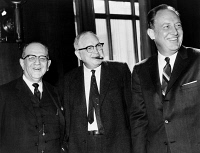 0623490 © Granger - Historical Picture ArchiveJAMES EASTLAND (1904-1984).   American politician and senator. Eastland (center) with Charles J. Bloch (left) and Attorney General William Rogers (right) during a break from a Senate Judiciary Committee meeting in Washington, D.C., where they expressed opposing views on civil rights legislation. Photograph, 1960.