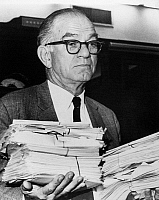 0170043 © Granger - Historical Picture ArchiveJ. WILLIAM FULBRIGHT   (1905-1995). American politican. As Chairman of the Senate Foreign Relations Committee, carrying stacks of telegrams sent in response to the U.S.-South Vietnamese invasion of Cambodia, most of them opposed to the action, 5 May 1970.
