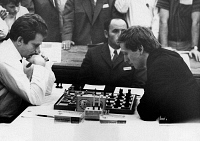 0170144 © Granger - Historical Picture ArchiveBOBBY FISCHER (1943-2008).   American chess player. Fischer (right) playing a game against Soviet world champion Boris Spassky at the 19th Chess Olympiad in Siegen, West Germany, 20 September 1970.