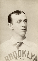 0325212 © Granger - Historical Picture ArchiveDAVE FOUTZ (1856-1897).   American baseball player. Photographed while playing for the Brooklyn Bridegrooms team, 1895.