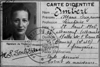 0351617 © Granger - Historical Picture ArchiveMARIE-MADELEINE FOURCADE (1909-1989). Leader of the French Resistance network 'Alliance.' Identity card under the name of Marie Suzanne Imbert, c1940. Full credit: Tallandier - Rue des Archives / Granger, NYC -- All rights reserved.