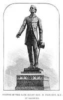 0354281 © Granger - Historical Picture ArchiveHENRY FAWCETT (1833-1884).   Blind British academic and statesman. Statue of Fawcett in Salisbury, England. Engraving, English, 1887.