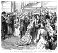 0370286 © Granger - Historical Picture ArchiveGUILDHALL RECEPTION, 1883.   Reception of guests at the Lord Mayor's banquet at the Guildhall in London. Engraving, English, 1883.