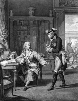 0620041 © Granger - Historical Picture ArchiveFREDERICK II OF PRUSSIA.   Frederick II visits the French philosopher Voltaire in the Palais in Sanssouci, Potsdam. Engraving by P.C. Baquoy after N.A. Monsiau, c1750.  Full Credit: Ullstein Bild/ Granger, NYC.