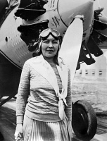 0621752 © Granger - Historical Picture ArchiveCLAIRE FAHY (1899?-1930).   American aviator. Fahy photographed in front of her airplane, 1929.