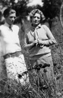0621859 © Granger - Historical Picture ArchiveJANET FLANNER (1892-1978).   American journalist. With Nancy Cunard in a field. Photograph, 1926.