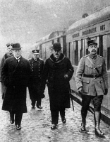 0622275 © Granger - Historical Picture ArchiveFERDINAND FOCH (1851-1929).   French soldier. Meeting with the German representatives in Trier, France before the Paris Peace Conference. Photograph, 16 January 1919. Full Credit: Rue des Archives / Granger, NYC. All Rights Reserved.