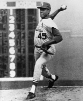 0169906 © Granger - Historical Picture ArchiveBOB GIBSON (1935- ).   American baseball pitcher. Pitching the St. Louis Cardinals to victory over the Boston Red Sox in the seventh and deciding game of the 1967 World Series, at Fenway Park, Boston, Massachusetts, 12 October 1967.