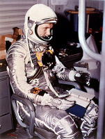 0621180 © Granger - Historical Picture ArchiveJOHN GLENN (1921-2016).   American astronaut and politician. Preparing for the Friendship 7 mission in his spacesuit. Photograph, 9 January 1962. Full Credit: ullstein bild - NASA / Granger, NYC. All Rights Reserved. Editorial Use Only.