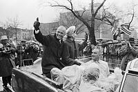 0621550 © Granger - Historical Picture ArchiveJOHN GLENN (1921-2016).  American astronaut and politician. With Vice President Lyndon B. Johnson. Photograph by Warren Leffler, 28 February 1962.