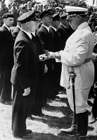 0621668 © Granger - Historical Picture ArchiveHERMANN GÖRING (1893-1946).   German Nazi party leader. Awarding 'Legion Condor' medals to German soldiers who fought in Spain during the Spanish Civil War. Photograph, 5 June 1939.