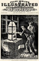 0040376 © Granger - Historical Picture ArchiveTHOMAS EDISON (1847-1931).   American inventor. The Wizard of Electricity, Edison, is depicted experimenting with carbonized paper in his Menlo Park, New Jersey, laboratory. Wood engraving from an American newspaper, 1880.