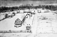 0051834 © Granger - Historical Picture ArchiveEDISON LABORATORY, 1880.   Winter scene at the Edison Laboratory, Menlo Park, New Jersey, 1880. Sketch by Richard Felton Outcault.
