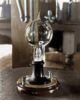 0077270 © Granger - Historical Picture ArchiveEDISON'S LIGHT BULB, 1879.   A replica of the first successful incandescent lamp, invented by Thomas A. Edison on 19 October 1879. The filament of carbonized cotton sewing thread burned for 40 hours.