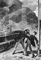 0083064 © Granger - Historical Picture ArchiveTHOMAS EDISON (1847-1931).   American inventor. A young Edison, employed on the Port Huron-Detroit Railroad line in Michigan, is forcibly removed from the train by an angry conductor after some of the chemicals which Edison stored there resulted in a fire in the baggage car, c1862. Wood engraving, French, late 19th century.