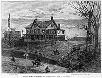 0119118 © Granger - Historical Picture ArchiveTHOMAS EDISON RESIDENCE.   Edison's complex with house, laboratory, office and machine shop, Menlo Park, New Jersey. Wood engraving, 1880.