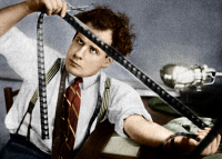 0528750 © Granger - Historical Picture ArchiveSERGEI EISENSTEIN (1898-1948).   Russian motion-picture director. Editing his first film, 'Strike,' in 1924.