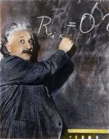 0041599 © Granger - Historical Picture ArchiveALBERT EINSTEIN (1879-1955).   American (German-born) theoretical physicist. Oil over a photograph.