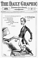 0090082 © Granger - Historical Picture ArchiveOCTAVIUS BROOKS FROTHINGHAM  (1822-1895). American clergyman. An Evangelical dog is at the heel of the extremely liberal clergyman. American cartoon by Thomas Nast, 1873.