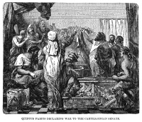 0052717 © Granger - Historical Picture ArchiveQUINTUS FABIUS MAXIMUS   (d. 203 B.C.). Surnamed Cunctator. Roman statesman and army commander. Quintus Fabius declares war to the Carthaginian senate, 218 B.C.: wood engraving, 19th century.