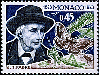 0049598 © Granger - Historical Picture ArchiveJEAN HENRI FABRE (1823-1915).   French entomologist. On a Monaco postage stamp, 1973.