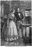 0070151 © Granger - Historical Picture ArchiveMICHAEL FARADAY   (1791-1867). English chemist and physicist. Faraday announcing his discovery to his wife on Christmas morning, 1821. Wood engraving, 19th century.