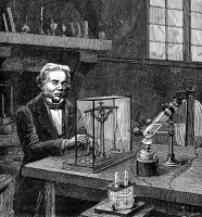 0070153 © Granger - Historical Picture ArchiveMICHAEL FARADAY (1791-1867).   English chemist and physicist. Faraday establishing the fundamental law of electrolysis. Wood engraving, French, 19th century.