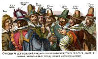 0033769 © Granger - Historical Picture ArchiveGUY FAWKES (1570-1606).   Fawkes (third from right) and the 'Gunpowder Plot' conspirators. Etching, 1605.