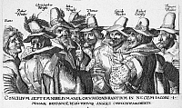 0039730 © Granger - Historical Picture ArchiveGUY FAWKES (1570-1606).   English conspirator. Fawkes (third from right) and the 'Gunpowder Plot' conspirators. Etching, 1605.