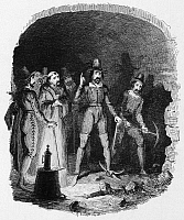 0045742 © Granger - Historical Picture ArchiveGUY FAWKES (1570-1606).   English conspirator. Guy Fawkes and his fellow conspirators alarmed while digging the mine under the House of Lords, November 1605. Etching by George Cruikshank, 19th century.
