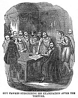 0045744 © Granger - Historical Picture ArchiveGUY FAWKES (1570-1606).   English conspirator. Guy Fawkes signing his confession to his part in the Gunpowder Plot after torture. Wood engraving, 19th century.