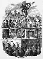 0045747 © Granger - Historical Picture ArchiveEXECUTION OF GUY FAWKES.   The execution of Guy Fawkes (1570-1606) on 31 January 1606, after the discovery of the 'Gunpowder Plot' to blow up the Houses of Parliament. Etching by George Cruikshank.