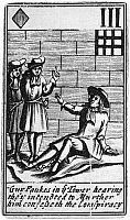 0116363 © Granger - Historical Picture ArchiveGUY FAWKES (1570-1606).   English conspirator. Guy Fawkes, imprisoned in the Tower of London, confesses to the 'Gunpowder Plot' to blow up the Houses of Parliament. Engraved English playing card, 1659.