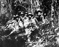 0114340 © Granger - Historical Picture ArchivePERCY HARRISON FAWCETT   (1867-1925?). British archaeologist and explorer. Fawcett (front right) and his team face starvation during an expedition to find the source of the Rio Verde river, on the frontier between Brazil and Bolivia, 1908.