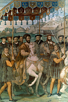 0020884 © Granger - Historical Picture ArchiveFRANCIS I (1494-1547).   King of France, 1515-1547. King Francis I and Holy Roman Emperor Charles V entering Paris, 1540. Fresco by Taddeo Zuccari.