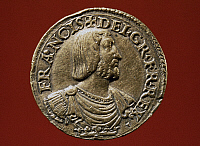 0027473 © Granger - Historical Picture ArchiveFRANCIS I (1494-1547).   King of France, 1515-1547. Relief portrait on a gold testoon of his reign.
