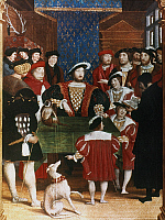 0034864 © Granger - Historical Picture ArchiveFRANCIS I (1494-1547).   King of France, 1515-1547. King Francis I and his advisers. Miniature from a contemporary French manuscript, mid-16th century.