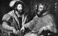 0068915 © Granger - Historical Picture ArchiveCLEMENT VII & FRANCIS I.   Pope Clement VII (1523-1534) and Francis I, King of France (1515-1547). Painting by Giorgio Vasari (1511-1574).