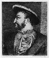 0266834 © Granger - Historical Picture ArchiveFRANCIS I (1494-1547).   King of France, 1515-1547. Etching, 19th century, by Frédéric-Désiré Hillemacher after a painting by Titian.