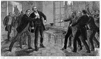 0354476 © Granger - Historical Picture ArchiveJULES FERRY (1832-1893).   French politician. The attempted assassination of Ferry at the Chamber of Deputies in Paris, 10 December 1887. Contemporary English engraving.
