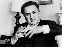 0325371 © Granger - Historical Picture ArchiveFEDERICO FELLINI (1920-1993).   Italian film director. Photograph by Walter Albertin, 1965.
