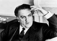 0325373 © Granger - Historical Picture ArchiveFEDERICO FELLINI (1920-1993).   Italian film director. Photograph by Walter Albertin, 1965.