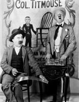 0070266 © Granger - Historical Picture ArchiveW.C. FIELDS (1879-1946).   American comedian. W.C. Fields and Chester Conklin entertain residents of the town hotel. Still from 'Two Flaming Youths,' 1927.