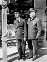0070270 © Granger - Historical Picture ArchiveW.C. FIELDS (1879-1946).   American comedian. Franklin Pangborn (left) as the bank examiner and W.C. Fields in the title role of 'The Bank Dick,' 1940.